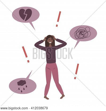The Concept Of Anxiety Disorders. A Depressed African Woman Under Stress. Love Disorder, Confusion,