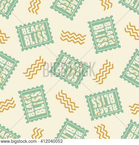 Beach Bliss Typography Vector Seamless Pattern Background.pastel Sage Green Orange Background With D