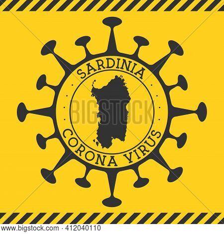 Corona Virus In Sardinia Sign. Round Badge With Shape Of Virus And Sardinia Map. Yellow Island Epide