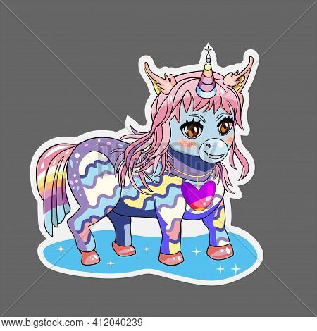 Unicorn Pony In Rainbow Colors With White Outline Isolated On The Grey Background. Vector Illustrati