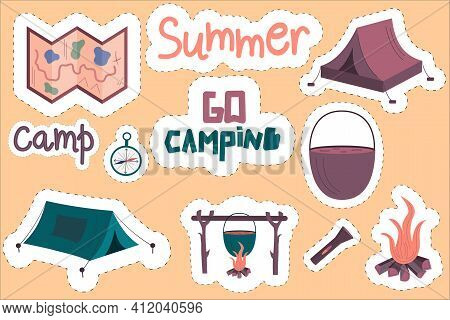 A Set Of Camping Stickers. Tents, Lettering, And A Bonfire With A White Outline And A Dotted Line. O