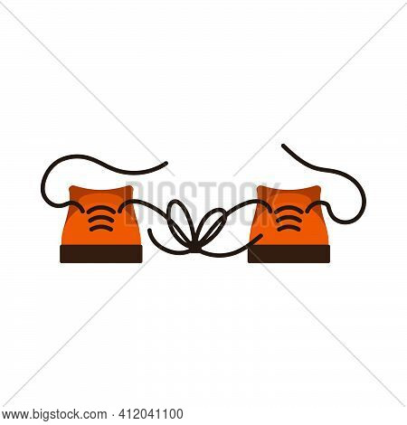 April Fool's Day Icon. Knoted Shoelace On Sneakers. Flat Color Design. Vector Illustration.