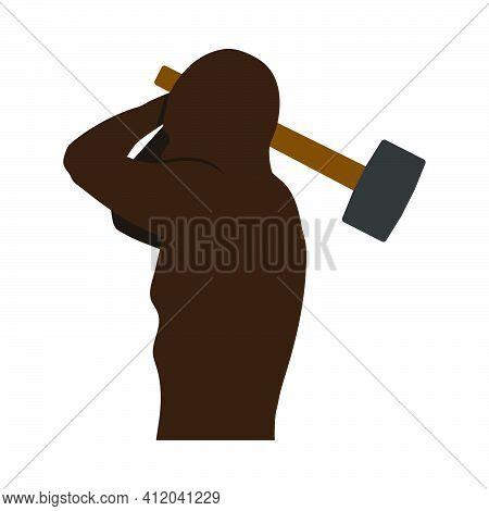 Labor Day Icon. Man's Torso And Sledgehammer. Flat Color Design. Vector Illustration.
