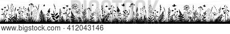 Long Floral Background With Black Silhouettes Of Meadow Wild Herbs And Flowers. Wild Flowers. Wild G