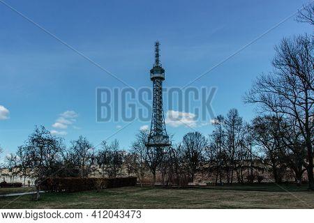 Petrin Lookout Tower, Prague, Czech Republic.steel Tower 63.5 Metres Tall On Petrin Hill Built In 18