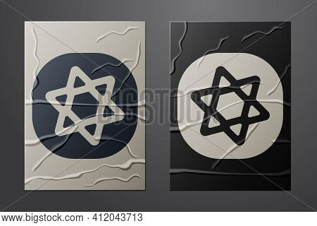 White Tarot Cards Icon Isolated On Crumpled Paper Background. Magic Occult Set Of Tarot Cards. Paper