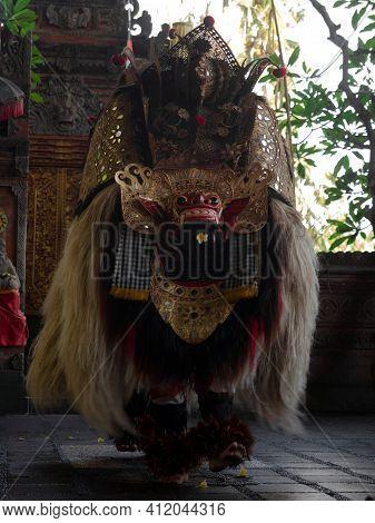 Traditional Balinese Culture Art Performance Sahadewa Barong Dance Costume Choreography In Hindu Tem