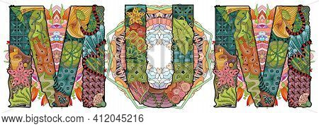 Hand-painted Art Design. Illustration Word Mum With Mandalas For T-shirt Design, Tattoo And Other De