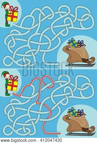 Elf Maze For Kids With A Solution