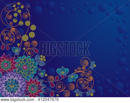 Colorful Decorative Flowers On A Dark Blue Background, Beautiful Greeting Card