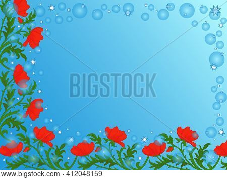 Colorful Decorative Flowers On Soft Blue Background In Circle And Stars, Beautiful Greeting Card