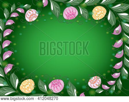 Colorful Frame With Elements Of Plants And A Gradient, Beautiful Greeting Card