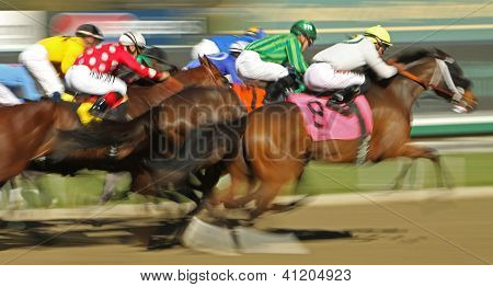 Motion Blur Horse Race