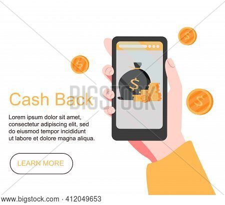 Cash Back Concept Design, People Getting Cash Rewards And Gift From Online Shopping, Suitable For We
