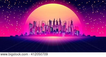 Sci-fi Vector Background, Night City Skyline In The Style Of Retro Waves, Synth 80s Design. Futurist