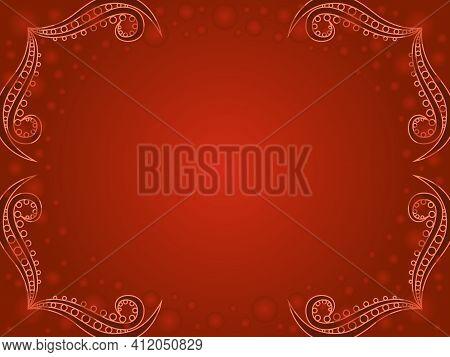 Greeting Decorative Card With Circle And Gradient In Orange And Brown Hues