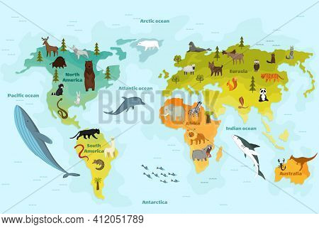 World Map With Different Animal. Funny Cartoon Banner For Children With The Continents, Oceans And L