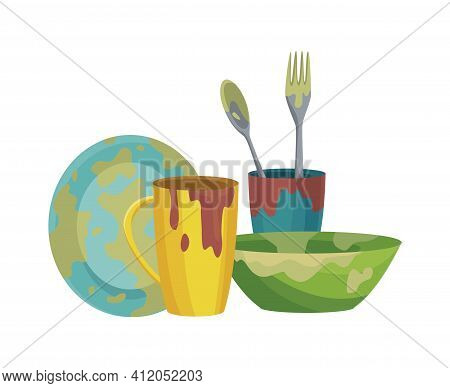 Dirty Dishes Plates And Cups Saucepan With Remains Fat Stains. Stack Of Dirty Kitchen Utensil And Di