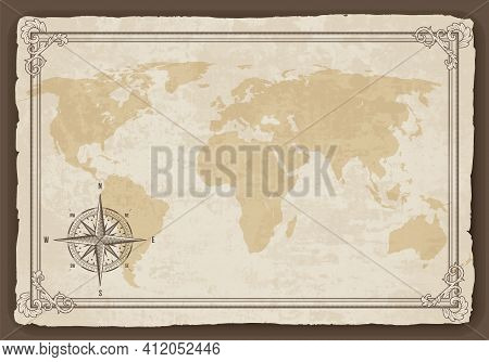 Old Map Frame With Retro Nautical Compass On Old Paper Texture. Hand Drawn Antique Nautical Old Vect