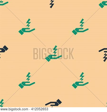 Green And Black Zeus Icon Isolated Seamless Pattern On Beige Background. Greek God. God Of Lightning