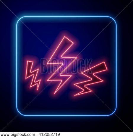 Glowing Neon Zeus Icon Isolated On Black Background. Greek God. God Of Lightning. Vector