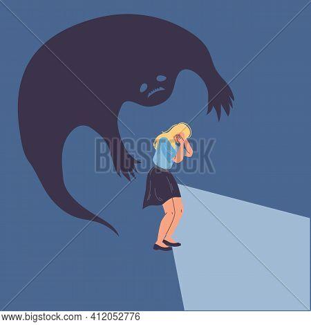 Cartoon Flat Woman Character In Paranoia Fear.afraid Girl In Panic, Scary Of Dark Shadow, Bipolar Di