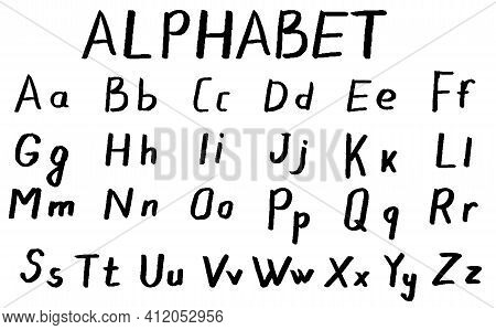 Set Of Letters. Hand Drawn Alphabet. Black Letters On White Background. Abc, Doodle Alphabet. Isolat
