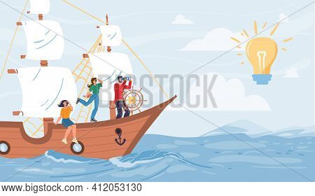 Vector Cartoon Flat Characters Sail On Ship Looking Into Distance On Glowing Lamp - New Ideas, Begin