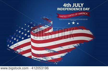 Happy Independence Day Greeting Card With Brush Stroke Background In United States National Flag Col