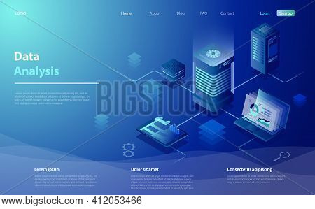 Data Analysis Concept. Data Analysis For Website, Mobile Website. Big Data Flow Processing Concept,