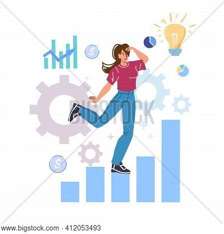 Vector Cartoon Flat Woman Character Looking Into Distance Standing On Growth Chart.happy Girl Looks