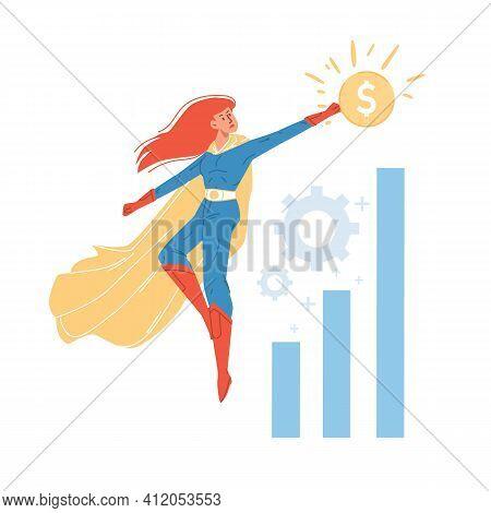 Vector Cartoon Flat Superhero Character Flies Up Above Growth Chart-metaphor Of Successful Business,