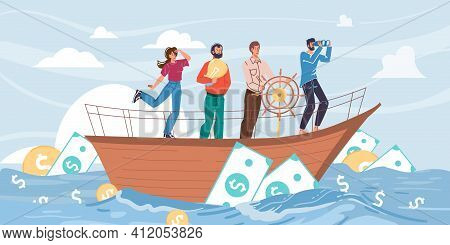 Vector Cartoon Flat Characters Sail On Ship In Midst Of Cash Dollars Coins, Looking Into Distance-ne