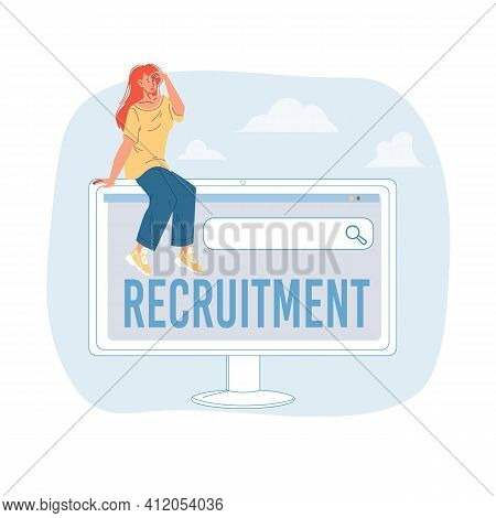 Cartoon Flat Character Looking Into Distance.young Girl Sitting On Monitor Search Engine Computer Ap