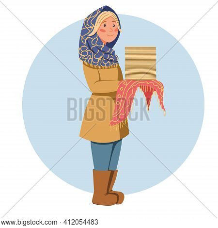 A Girl In A Scarf With Pancakes In Her Hands. Pancake Day. Shrovetide Carnival. The Great Russian Ho