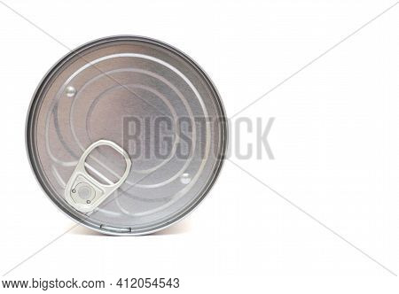 Canned. Tin Can Isolated On White. Close-up.
