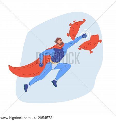 Vector Cartoon Flat Superhero Character Fight Coronavirus, Protecting People - Covid Prevention, Pro