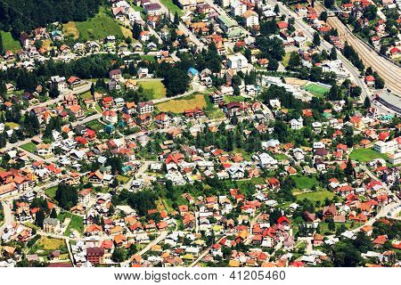 Aeial view of Busteni City, Romania, Europe