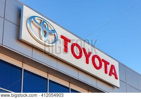 Samara, Russia - March 13, 2016: Toyota Logo On The Building Of Official Dealer. Toyota Motor Corpor