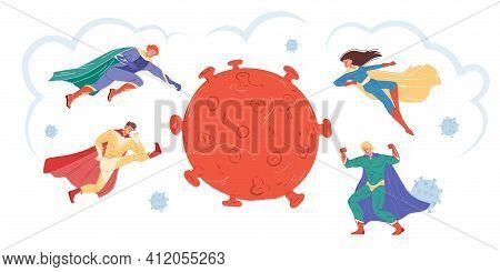 Vector Cartoon Flat Superhero Characters Fight Coronavirus, Protecting People - Covid Prevention, Pr