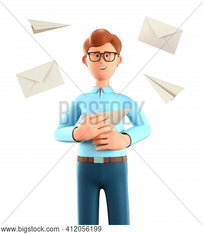 3d Illustration Of Cartoon Smiling Man Holding Paper Airplane And Flying Postal Envelopes. Email Ser