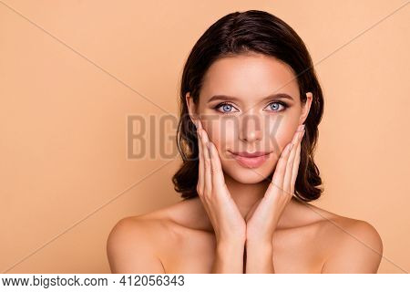Close Up Photo Beautiful Amazing She Her Model Smearing Touch Facial Skin Healthy Curls Hairdo Ideal