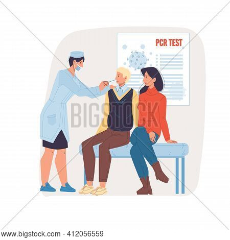 Vector Cartoon Flat Doctor Character At Work Doing Pcr Test.physician Take Patient Saliva Sample - C