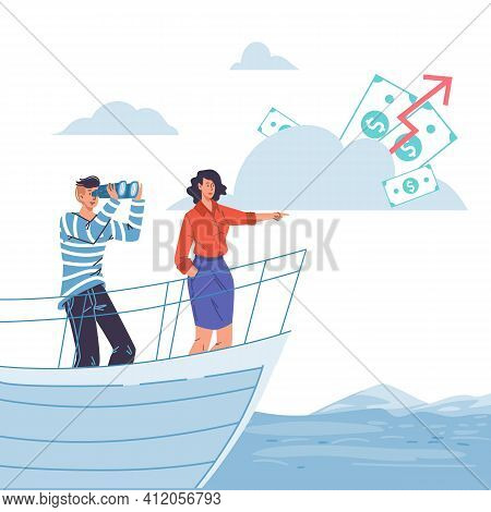 Vector Cartoon Flat Characters Sail On Ship Looking Into Distance On Cash Dollars-new Beginnings, Op