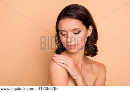 Close Up Photo Beautiful She Her Lady Smearing Hand Arm Fingers Balm Body Shoulder Skin Healthy Soft