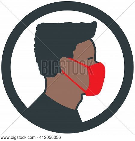 Afro American Male Wearing Medical Face Mask