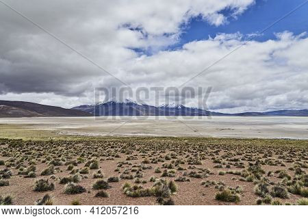 Vast And Desolate Landscape At High Altitude In The Highlands Of The Andes In Chile, South America
