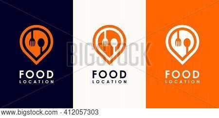 Food Pin Logo Vector Premium  Vector Premium