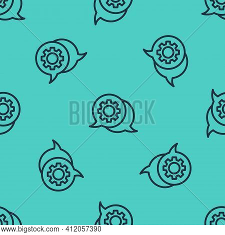 Black Line Speech Bubble Chat Icon Isolated Seamless Pattern On Green Background. Message Icon. Comm