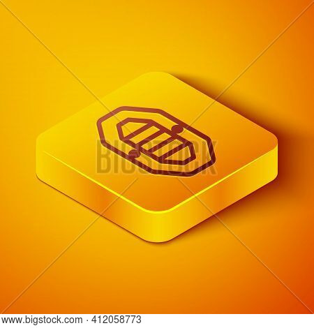 Isometric Line Rafting Boat Icon Isolated On Orange Background. Inflatable Boat With Paddles. Water